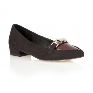 RLS341 IOWA BLACK IMI SUEDE-BURGUNDY CROC