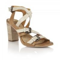 Ravel Bunnell Block Heel Sandals Tan & Off White Leather