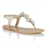 Ravel El Paso Jewelled Flat Sandals Gold Leather