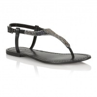 Ravel Huntsville Flat Sandals Black Embellished Leather