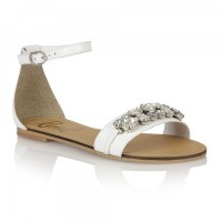 Ravel Tulsa Jewelled Flat Sandals White Leather