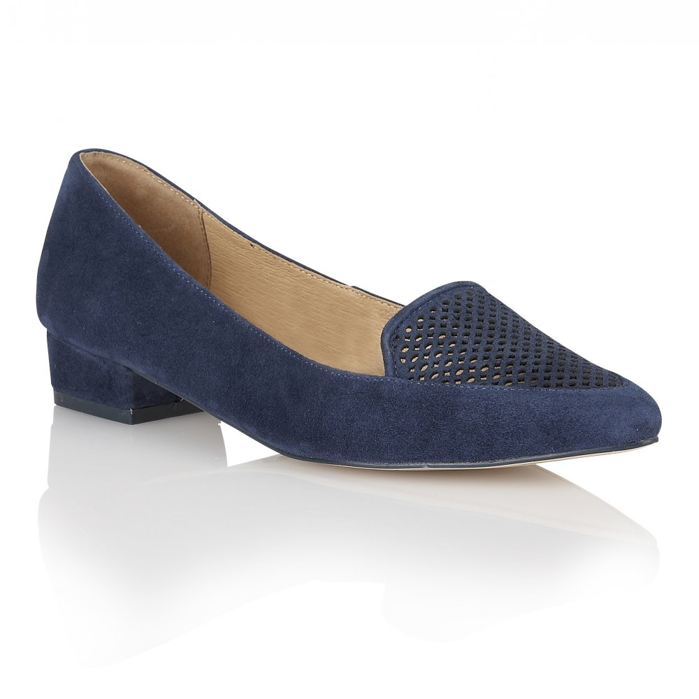 Blue Low Wedge Shoes
