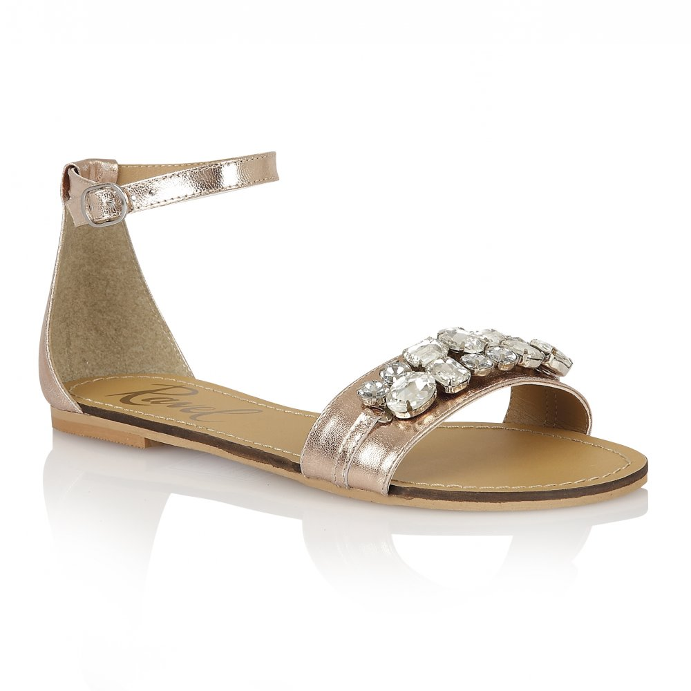 Buy Ravel ladies Tulsa flat sandals online in gold leather