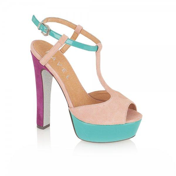 3e49bfe9beb6 Ravel Lauren Platform Sandals Nude Turquoise Purple Suede ...