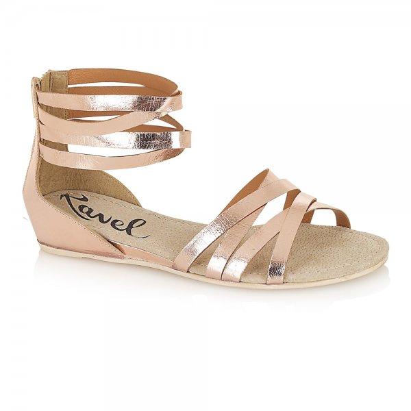 46d273335e6 Ravel Lucinda Sandals Rose Gold Leather ...