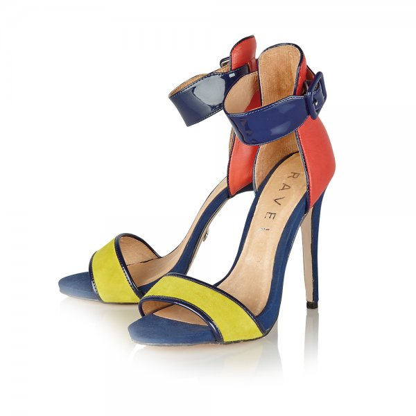 537c35d1748 ... Ravel Pansy Colour Block Strappy Sandals Coral Navy Lime Suede ...