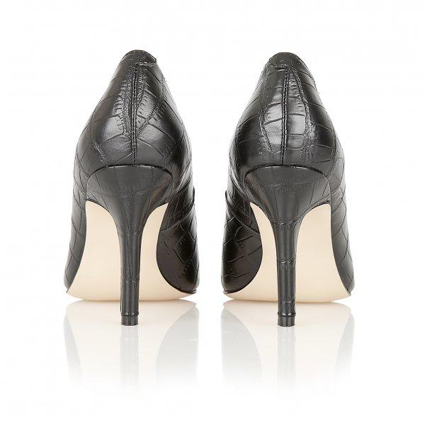 Black Patent Leather Croc Court Shoes