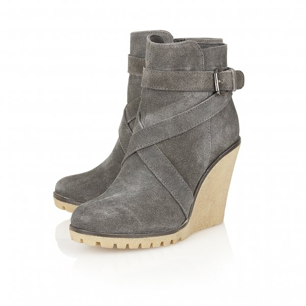 buy ravel alaska wedge ankle boots in grey suede