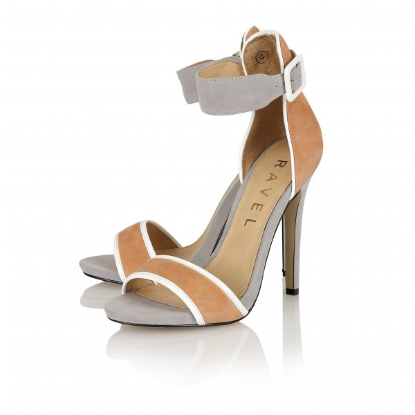f16e02d3d43 ... Ravel Pansy Colour Block Heeled Sandals Peach Grey Suede ...