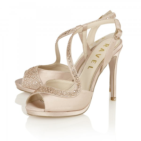 79f27b838c7 ... Ravel Fulton Diamante Embellished Heeled Sandals Champagne Satin ...