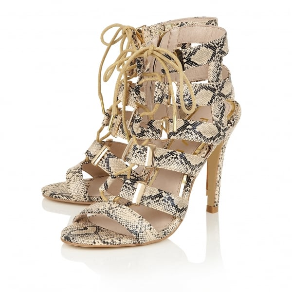 ... Ravel Omak Lace Up Heeled Sandals Snake. ‹