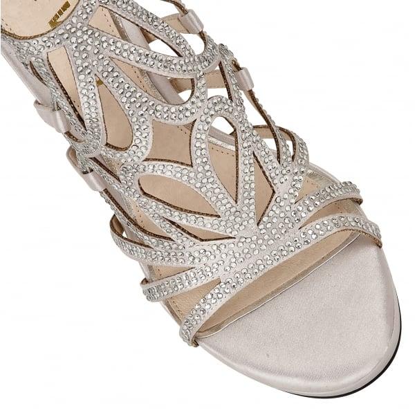 54ecf6b4045ed9 ... Silver Blanco Satin   Diamante Embellished Heeled Sandals