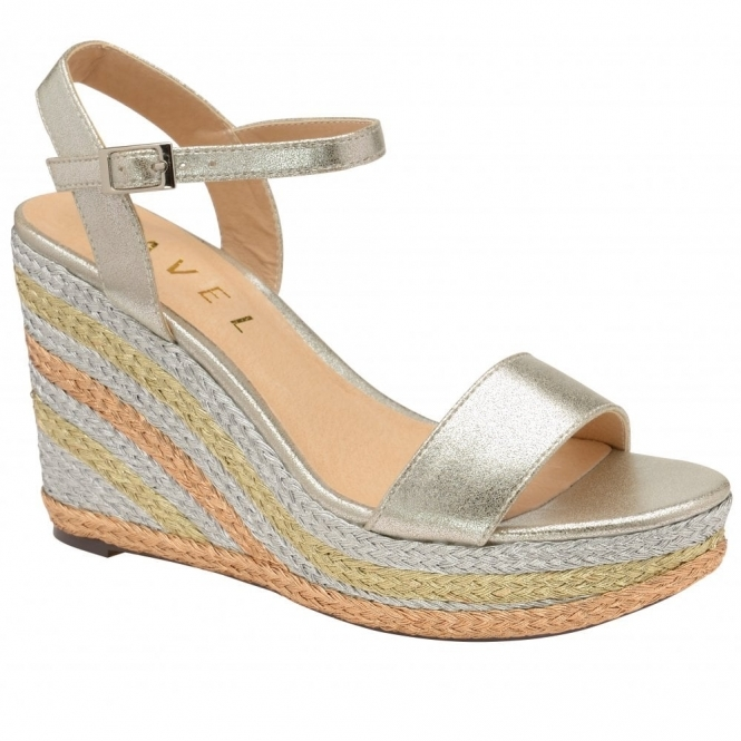 Metallic Dixie Wedge Open-Toe Sandals | Ravel
