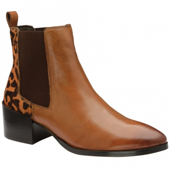 Tan/Leopard Saxman Leather Heeled Ankle Boots | Ravel