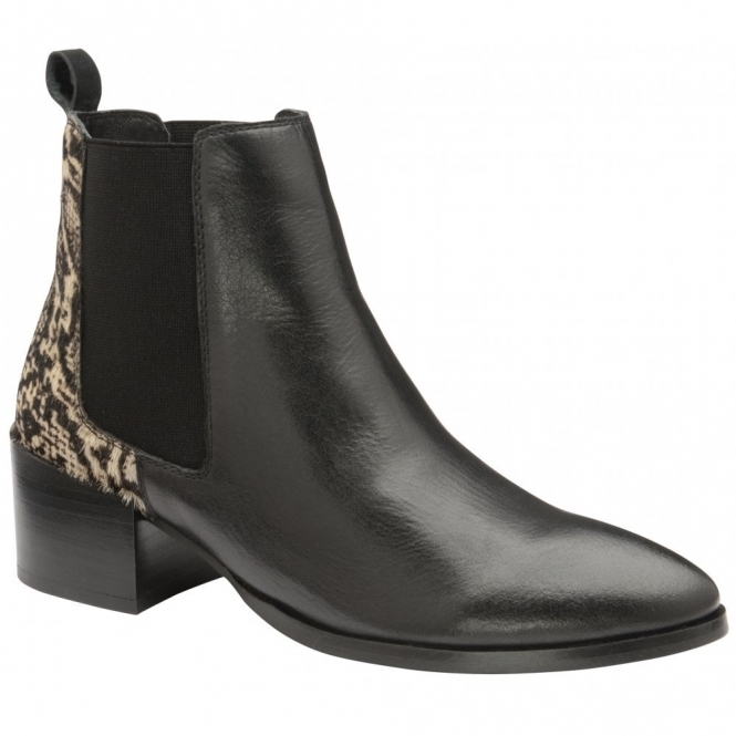 Black/Snake Saxman Leather Heeled Ankle Boots | Ravel