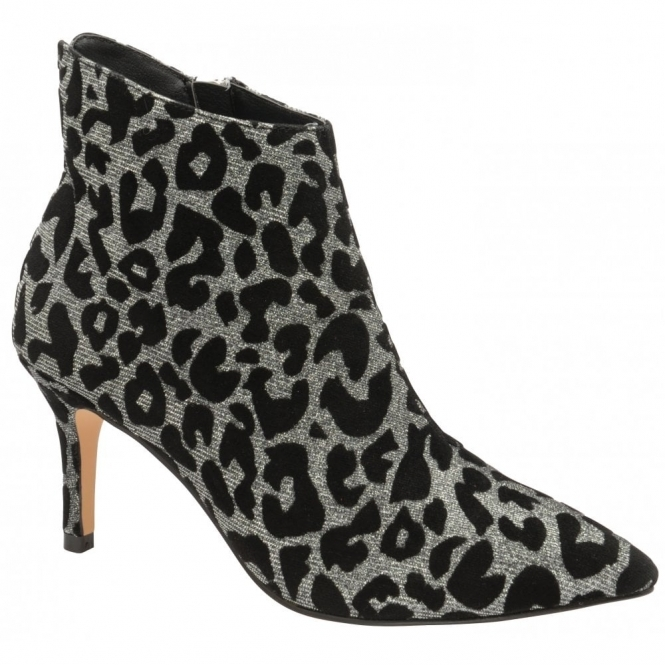 Silver Sparkle Leopard-Print Renwick Heeled Ankle Boots | Ravel