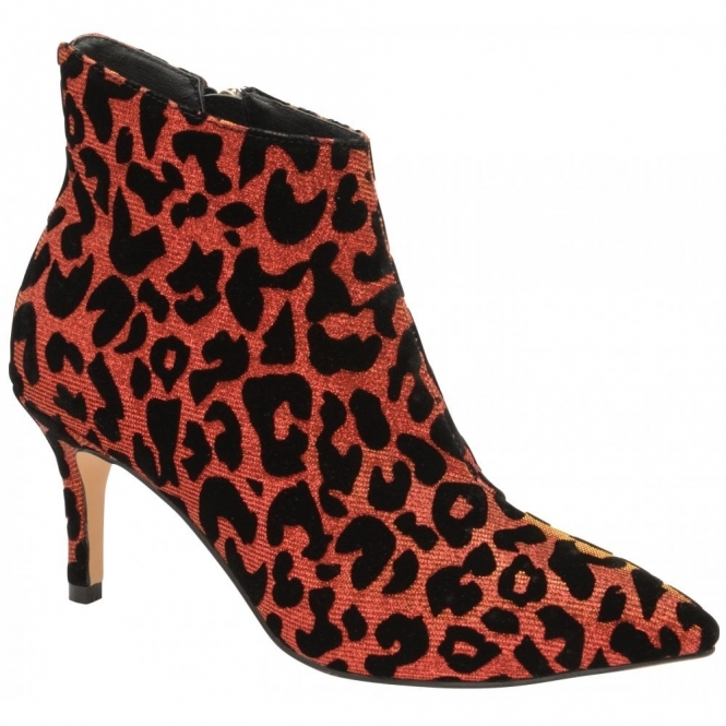 Red Sparkle Leopard-Print Renwick Heeled Ankle Boots | Ravel