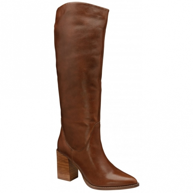 Brown Lumsden Leather Heeled Knee-High Boots | Ravel