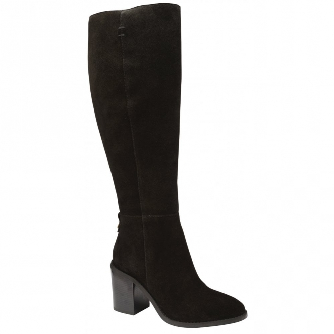 Black Albury Suede Heeled Knee-High Boots | Ravel