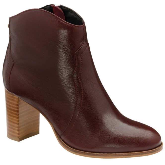 Burgundy Foxton Leather Heeled Ankle Boots | Ravel