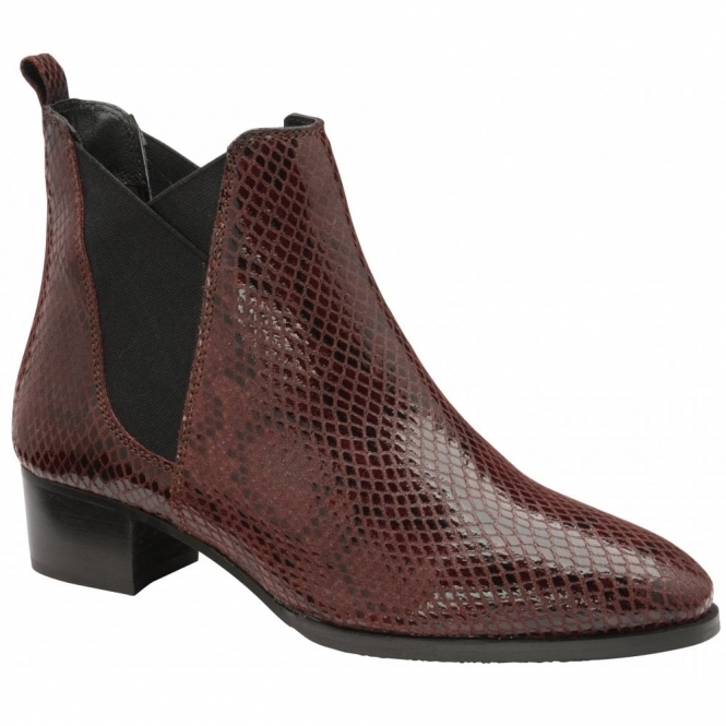 Bordo Loburn Snake-Print Leather Ankle Boots | Ravel