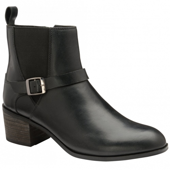 Black Kingsley Leather Heeled Ankle Boots | Ravel