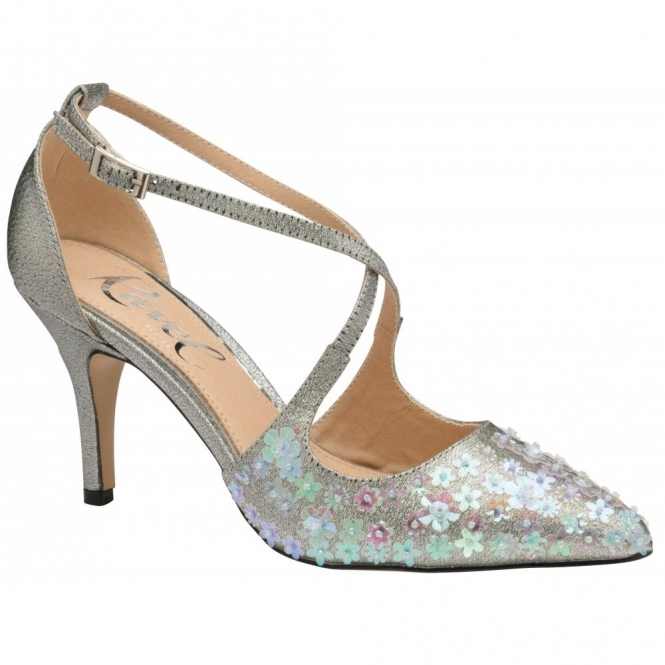 Silver Sparkle Sanson Heeled Pumps | Ravel