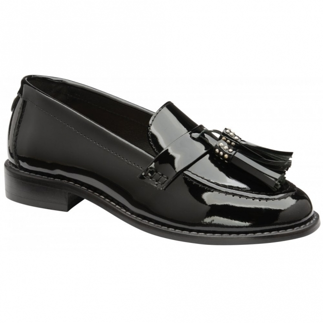 Black Levin Patent Leather Low Heel Loafers | Ravel