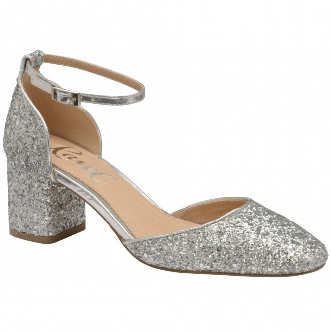Silver Glitter Pembroke Low Heeled Closed-Toe Pumps | Ravel