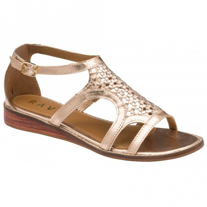 Rose Gold Cardwell Leather Wedge Sandals | Ravel