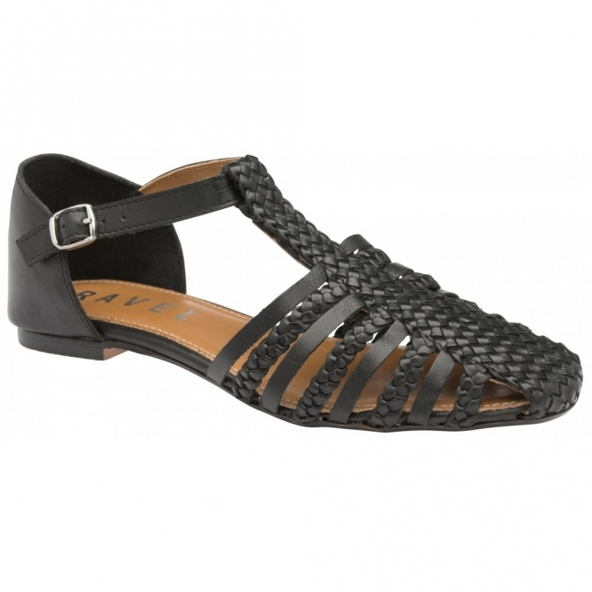 Black Gladstone Leather Flat Sandals | Ravel