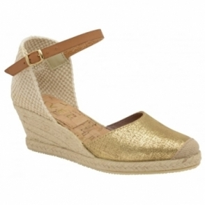 Gold Etna Metallic Leather Espadrille Wedge Sandals | Ravel