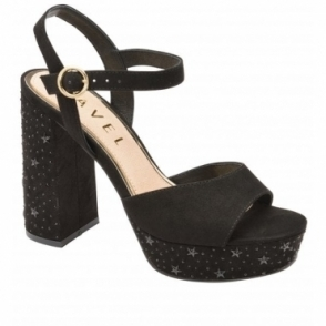 Black Delray Platform Heeled Sandals | Ravel