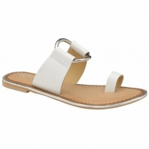 White Franklin Leather Flat Sandals | Ravel