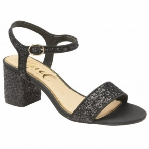 Black Glitter Walton Heeled Open-Toe Sandals  | Ravel
