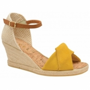 Yellow Palmer Suede Peep-Toe Wedge Sandals | Ravel