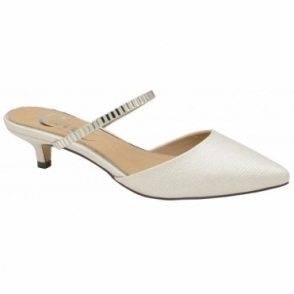White Odessa Kitten-Heel Mule Shoes | Ravel
