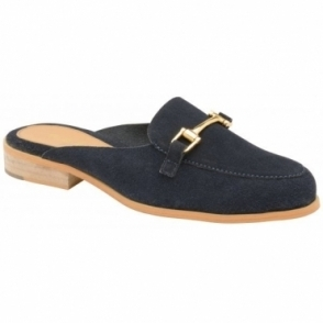 Navy Brooker Suede Backless Loafers | Ravel