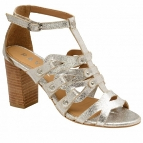 Silver Jackson Leather Heeled Sandals | Ravel