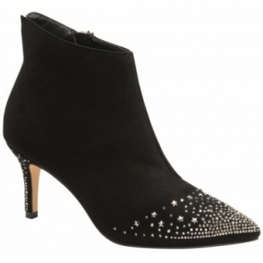 Black Diamante Renwick Heeled Ankle Boots | Ravel