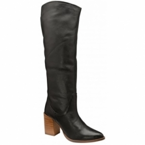 Black Lumsden Leather Heeled Knee High Boots | Ravel