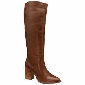 Brown Lumsden Leather Heeled Knee High Boots | Ravel