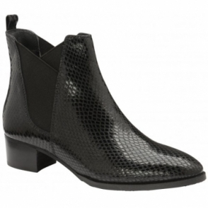 Black Loburn Snake-Print Leather Ankle Boots | Ravel