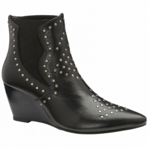 Black Reefton Leather Wedge Ankle Boots | Ravel