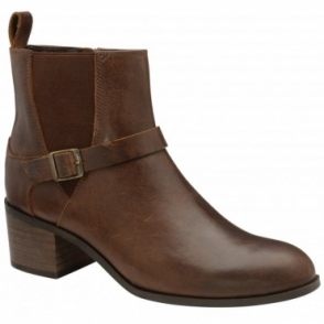 Brown Kingsley Leather Heeled Ankle Boots | Ravel