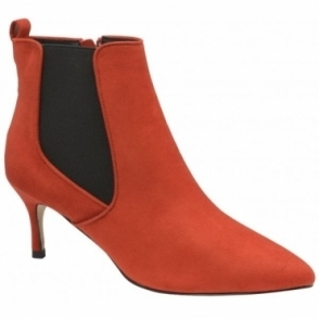 Red Cheviot Stiletto Heel Ankle Boots | Ravel