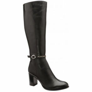 Black Roxburgh Leather Heeled Knee High Boots | Ravel