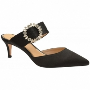 Black Marsden Satin Kitten-Heel Slip-On Shoes