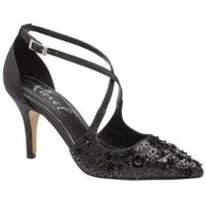 Black Sparkle Sanson Heeled Pumps | Ravel