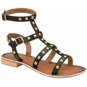 Black Parkes Leather Strappy Sandals | Ravel